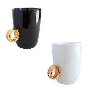 """""""Ja, ich will. Kaffee!"""" - Tasse mit Ring"""
