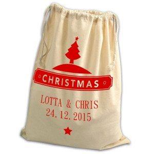 Julegavesæk med navn og dato