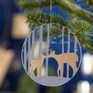 "Julepynt ""Hjort"" i glas med indgravering - Leonardo"