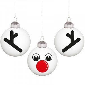 """Kleines Weihnachtskugel-Set """"Rudolph"""""""