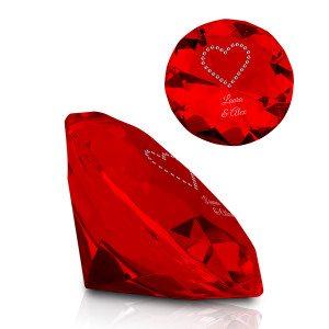 Krystal med Swarowski-hjerte & indgravering
