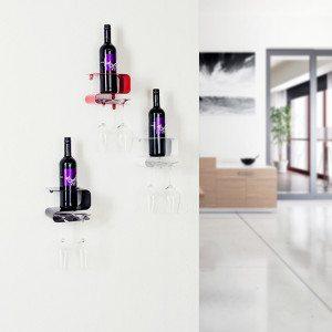 Modernes Weinregal für Flasche und Gläser