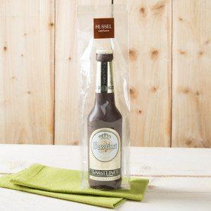 Ølflaske lavet af chokolade fra Hussel