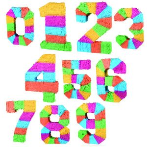 Piñata formet som farverige tal