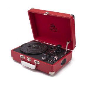 Plattenspieler im Koffer mit integriertem Lautsprecher Rot - Vorderansicht