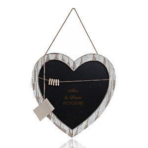 Stor hjerteformet tavle med indgravering