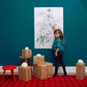 Stor maleplakat med juletræsmotiv