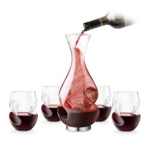Vinkaraffel med glas